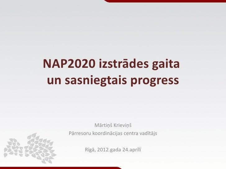 NAP2020 izstrādes gaitaun sasniegtais progress               Mārtiņš Krieviņš    Pārresoru koordinācijas centra vadītājs  ...