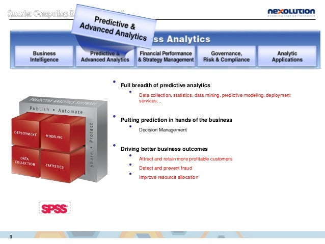 • Full breadth of predictive analytics • Data collection, statistics, data mining, predictive modeling, deployment service...
