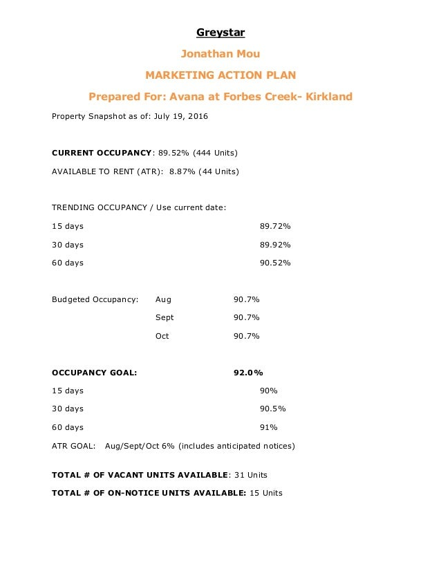 apartment marketing plan template - marketing action plan greystar