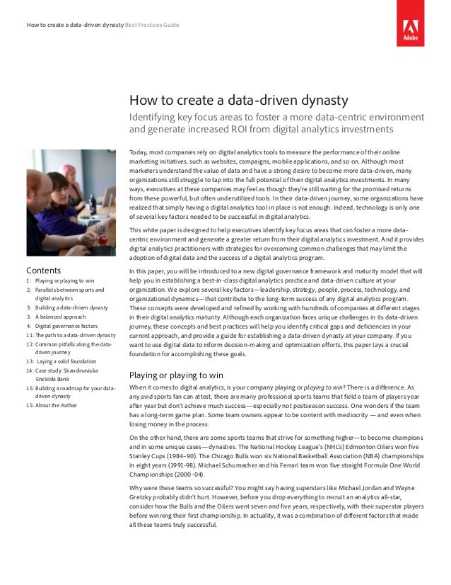 How to create a data-driven dynasty Best Practices Guide                                        How to create a data-drive...
