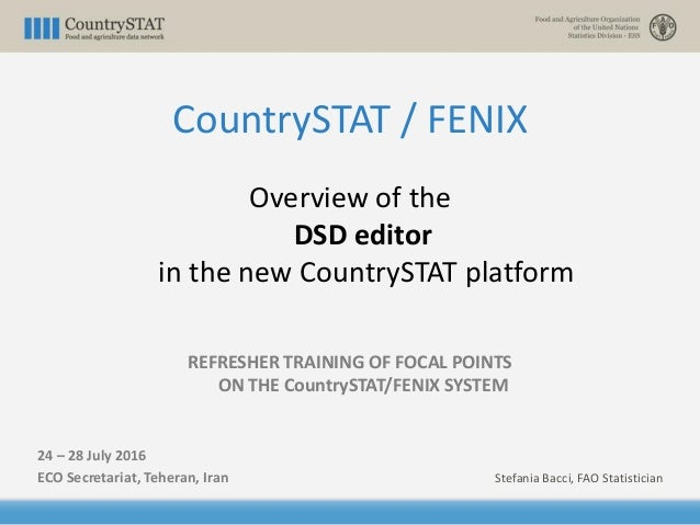 Overview of the DSD editor in the new CountrySTAT platform