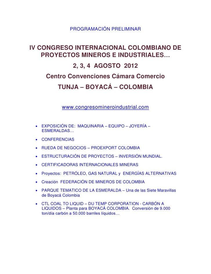 PROGRAMACIÓN PRELIMINARIV CONGRESO INTERNACIONAL COLOMBIANO DE    PROYECTOS MINEROS E INDUSTRIALES…                  2, 3,...