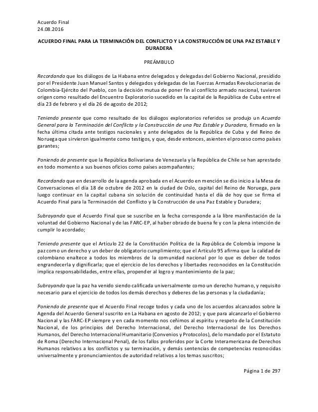AcuerdoFinal 24.08.2016 Página1de297  ACUERDOFINALPARALATERMINACIÓNDELCONFLICTOYLACONSTRUCCIÓNDEUNAPAZ...