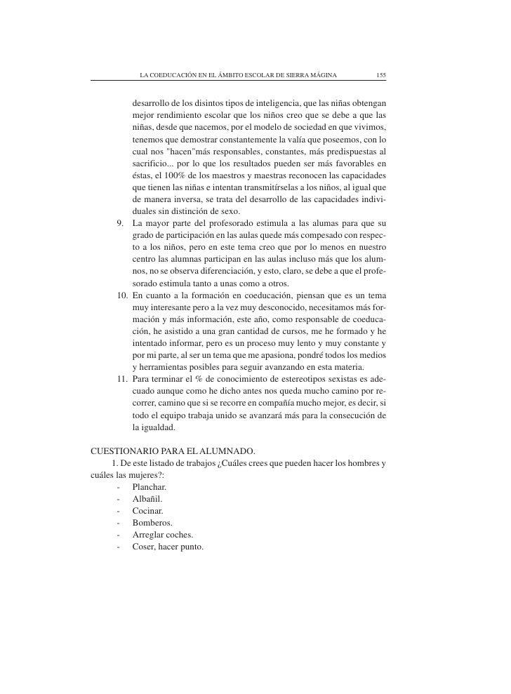 LA COEDUCACIÓN EN EL ÁMBITO ESCOLAR DE SIERRA MÁGINA                155               desarrollo de los disintos tipos de ...