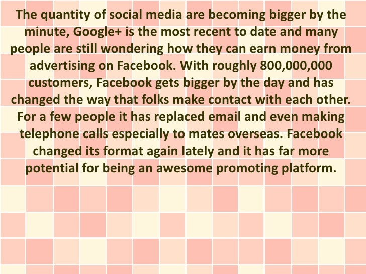 The quantity of social media are becoming bigger by the   minute, Google+ is the most recent to date and manypeople are st...