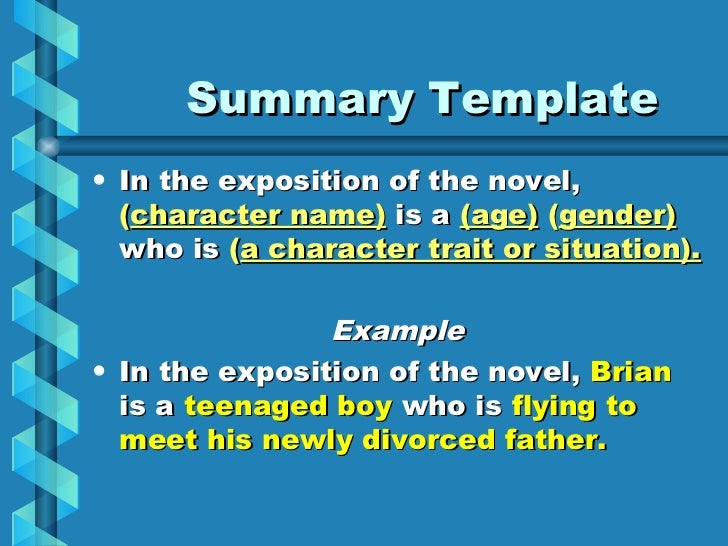 example of summary exposition Using text organizers to assist students with the writing process for common text types taught in schools.
