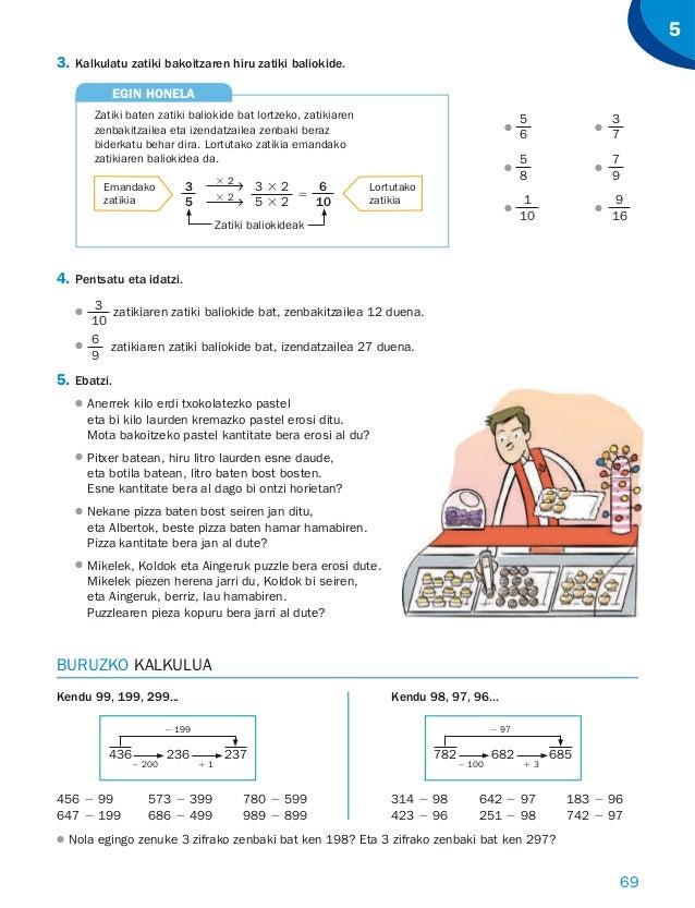 69 5 3. Kalkulatu zatiki bakoitzaren hiru zatiki baliokide. 5 6 ● ● 3 7 5 8 ● ● 7 9 1 10 ● ● 9 16 4. Pentsatu eta idatzi. ...
