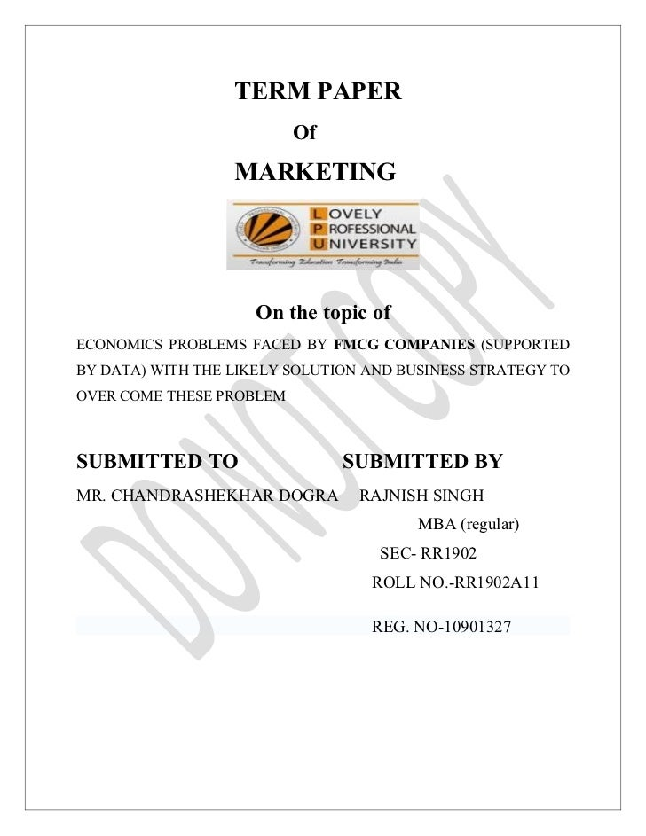TERM PAPER                          Of                  MARKETING                     On the topic ofECONOMICS PROBLEMS FA...
