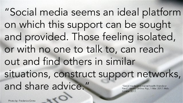 """Photo by: Frederico Cintra """"Social media seems an ideal platform on which this support can be sought and provided. Those f..."""