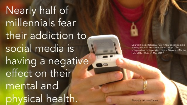 Nearly half of millennials fear their addiction to social media is having a negative effect on their mental and physical h...