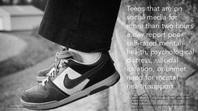 Photo by: Jordan Cameron Teens that are on social media for more than two hours a day report poor self-rated mental health...
