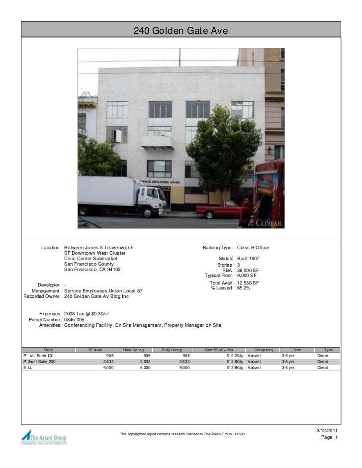 240 Golden Gate Ave         Location: Between Jones & Leavenworth                                                    Build...