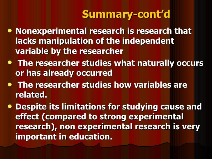 importance of non experimental research