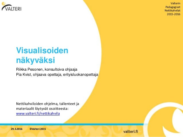 Visualisoiden näkyväksi Riikka Pesonen, konsultoiva ohjaaja Pia Kvist, ohjaava opettaja, erityisluokanopettaja Nettikahvil...