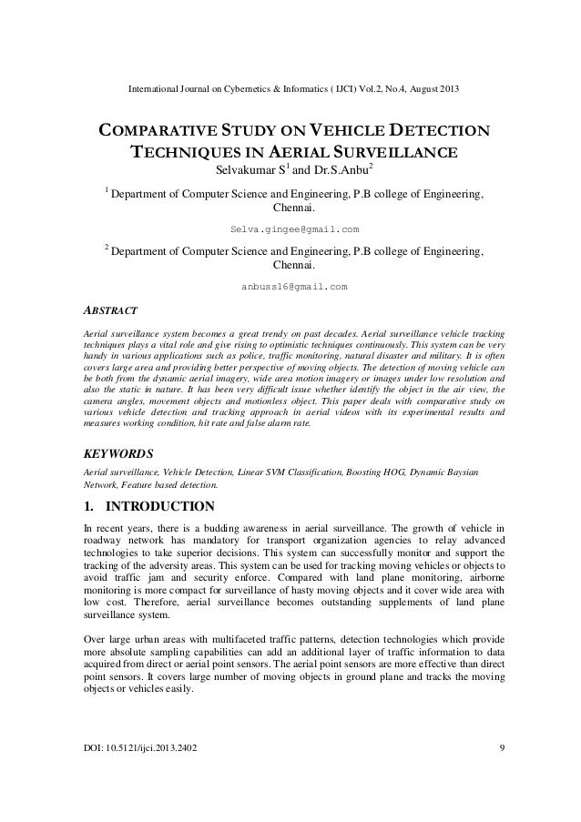 International Journal on Cybernetics & Informatics ( IJCI) Vol.2, No.4, August 2013 DOI: 10.5121/ijci.2013.2402 9 COMPARAT...