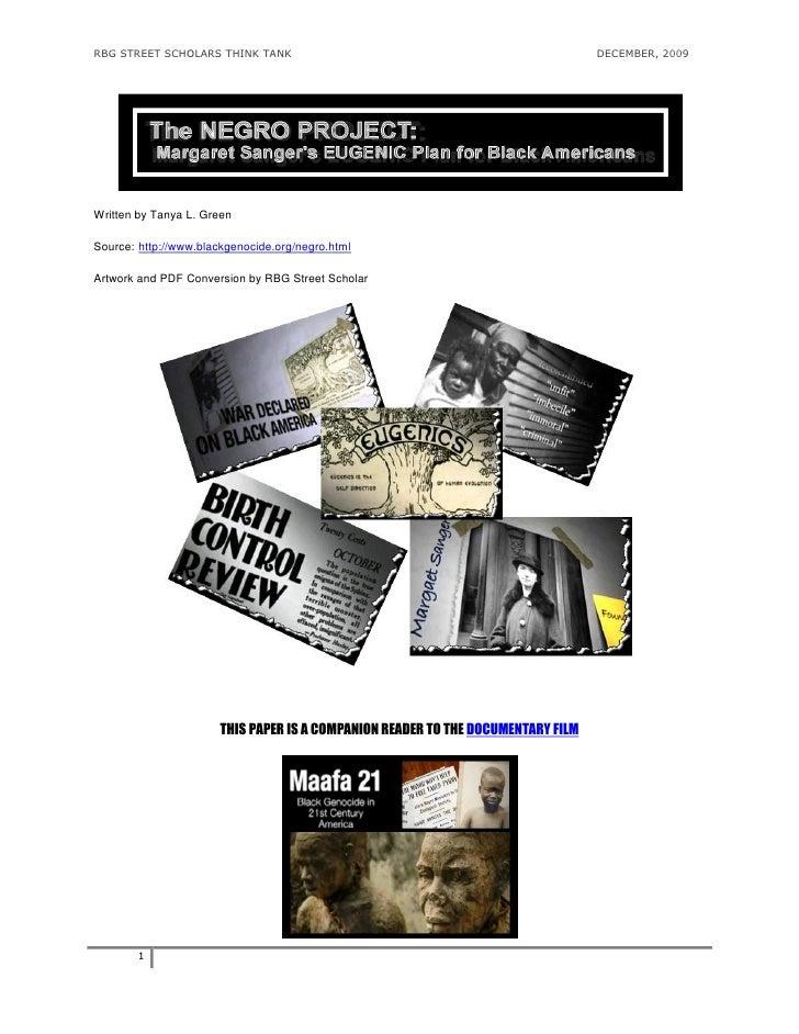 RBG STREET SCHOLARS THINK TANK                                                    DECEMBER, 2009     Written by Tanya L. G...