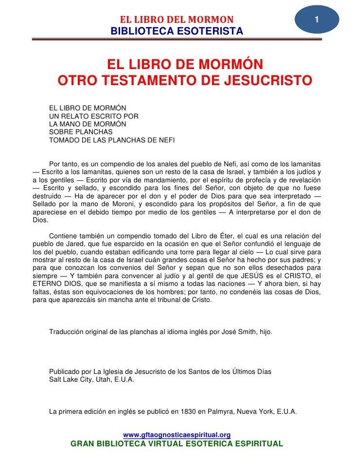 EL LIBRO DEL MORMON                                             1                         BIBLIOTECA ESOTERISTA           ...