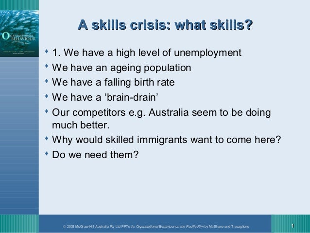 A skills crisis: what skills? 1. We have a high level of unemployment We have an ageing population We have a falling bi...