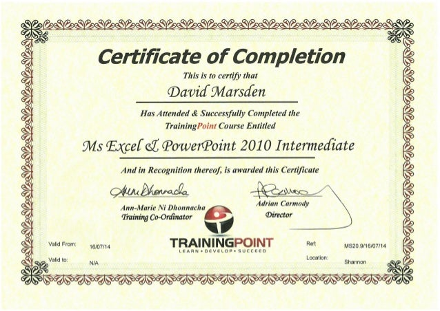 ms excel powerpoint 2010 intermediate certificate