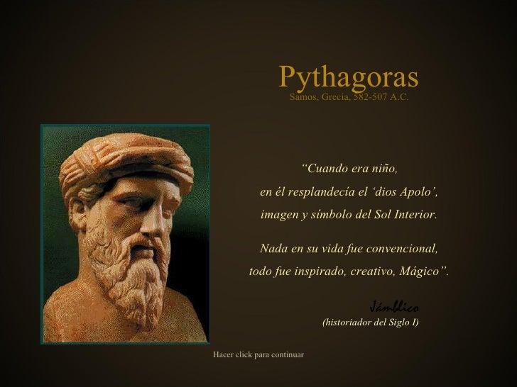 """Pythágoras """" Cuando era niño, en él resplandecía el 'dios Apolo', imagen y símbolo del Sol Interior. Nada en su vida fue c..."""