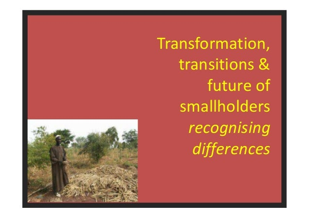1  Transformation,  transitions &  future of  smallholders  recognising  differences