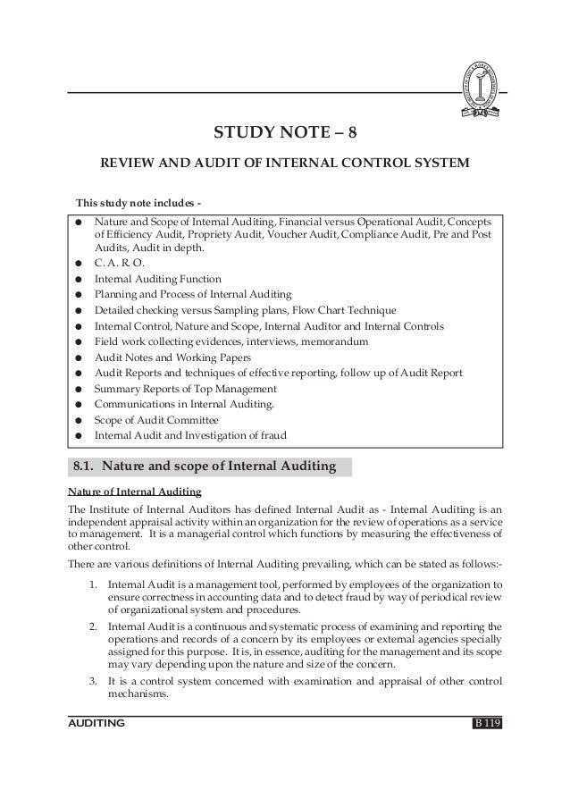 STUDY NOTE – 8 REVIEW AND AUDIT OF INTERNAL CONTROL SYSTEM This study note includes ●  ● ● ● ● ● ● ● ● ● ● ● ●  Nature and...