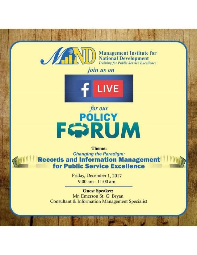 MIND Policy Forum - December 2017