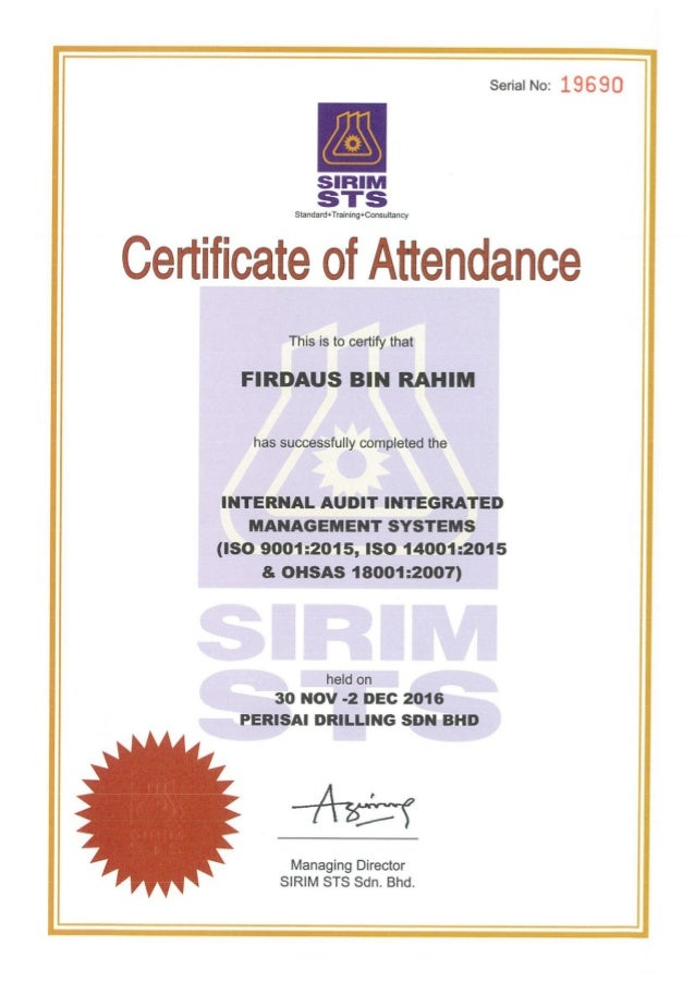 Sirim Internal Audit Certification