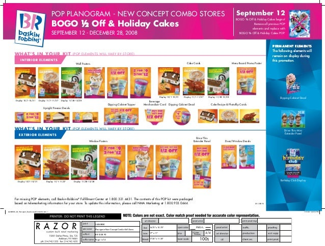 September 12  POP Planogram - new concept combo STORES  BOGO ½ Off & Holiday Cakes begins!  BOGO ½ Off & Holiday Cakes  Re...