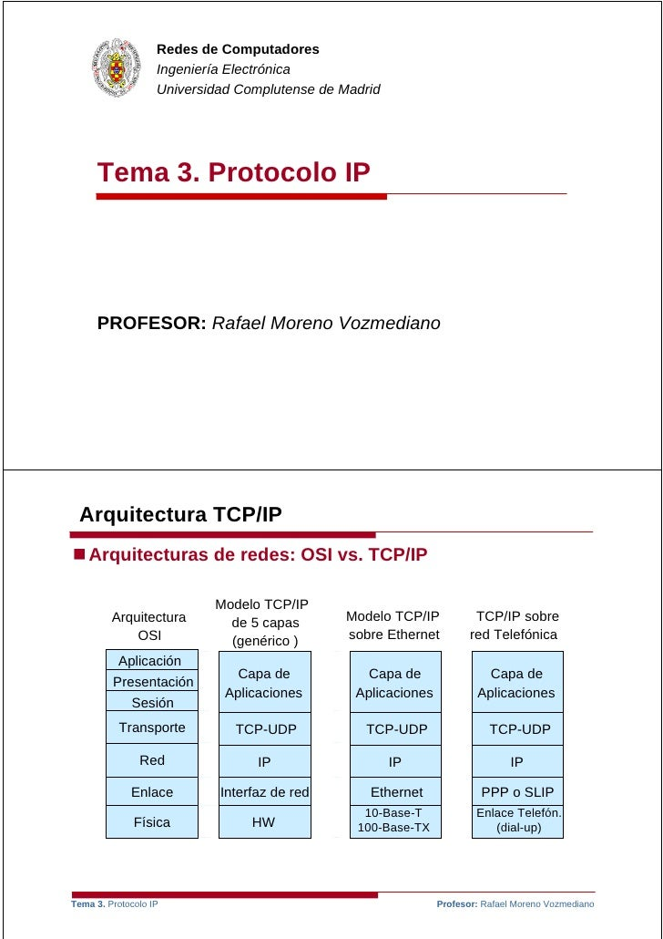Redes de Computadores                    Ingeniería Electrónica                    Universidad Complutense de Madrid      ...