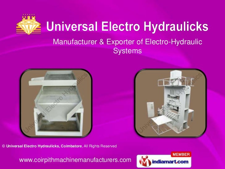 Manufacturer & Exporter of Electro-Hydraulic                                             Systems© Universal Electro Hydrau...