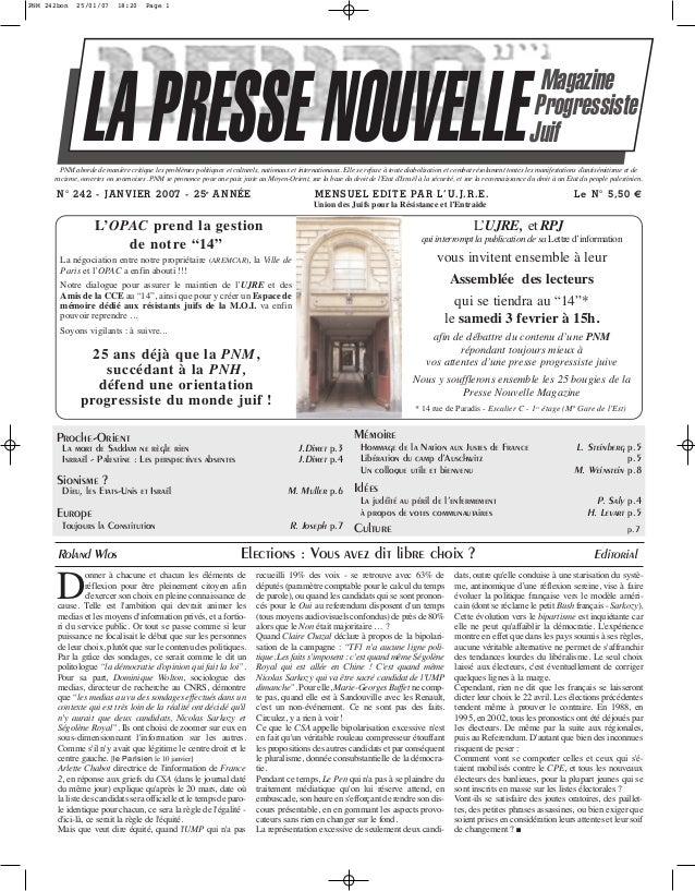 PNM 242bon  25/01/07  18:20  Page 1  LA PRESSE NOUVELLE  Magazine Progressiste Juif  PNM aborde de manière critique les pr...