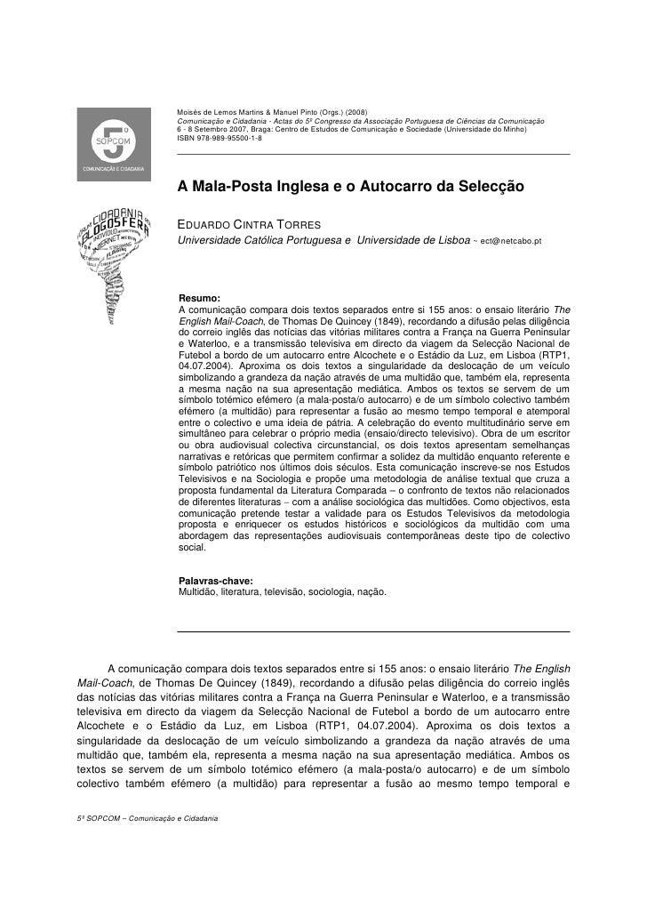 Moisés de Lemos Martins  Manuel Pinto (Orgs.) (2008)                         Comunicação e Cidadania - Actas do 5º Congres...