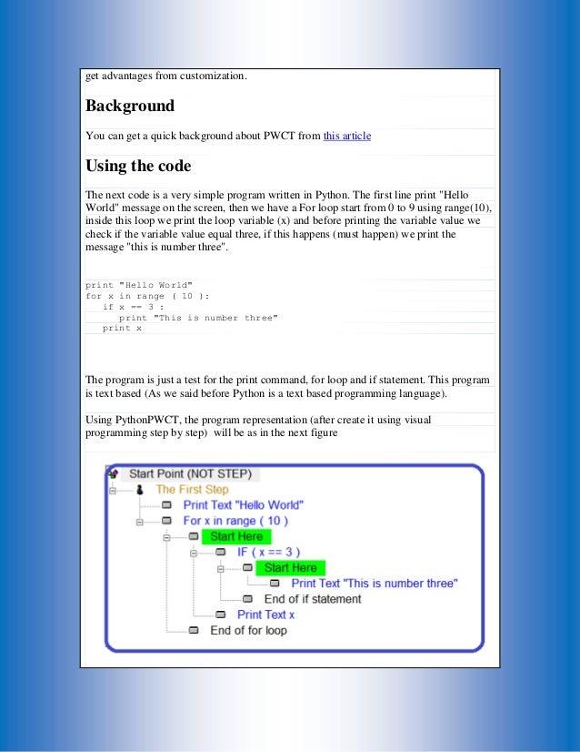 Using Python inside Programming Without Coding Technology (PWCT) Envi…