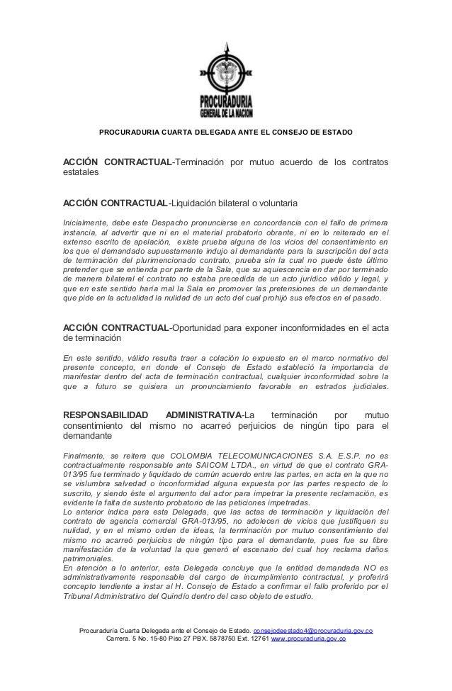 PROCURADURIA CUARTA DELEGADA ANTE EL CONSEJO DE ESTADO ACCIÓN CONTRACTUAL-Terminación por mutuo acuerdo de los contratos e...