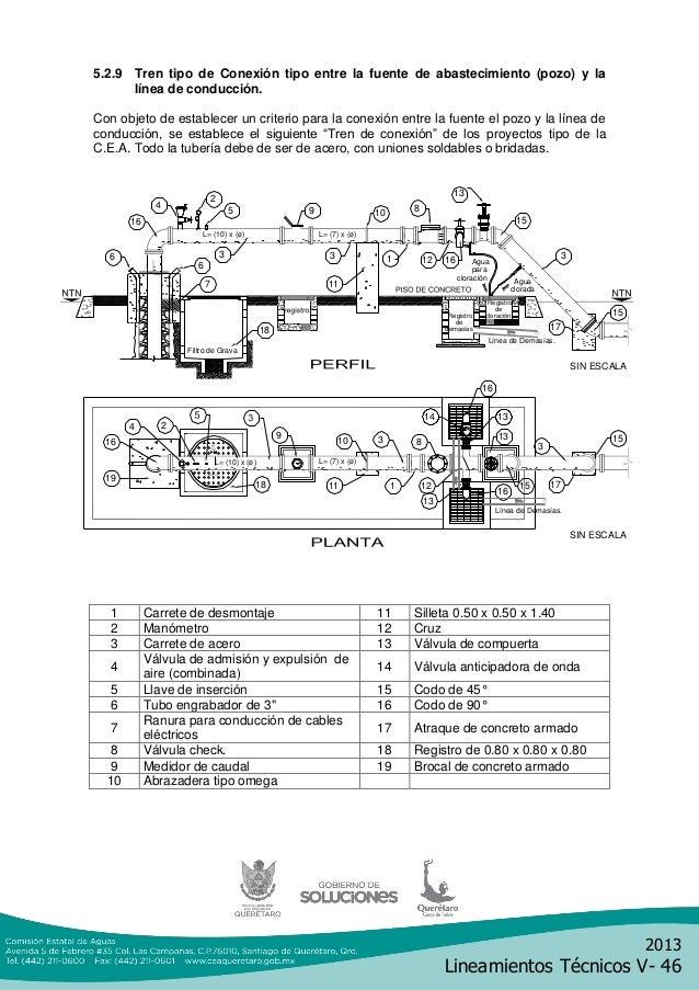 2013Lineamientos Técnicos V- 465.2.9 Tren tipo de Conexión tipo entre la fuente de abastecimiento (pozo) y lalínea de cond...