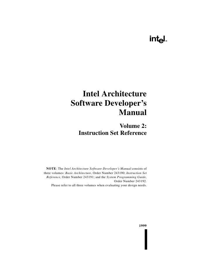 Intel Architecture                   Software Developer's                                Manual                           ...