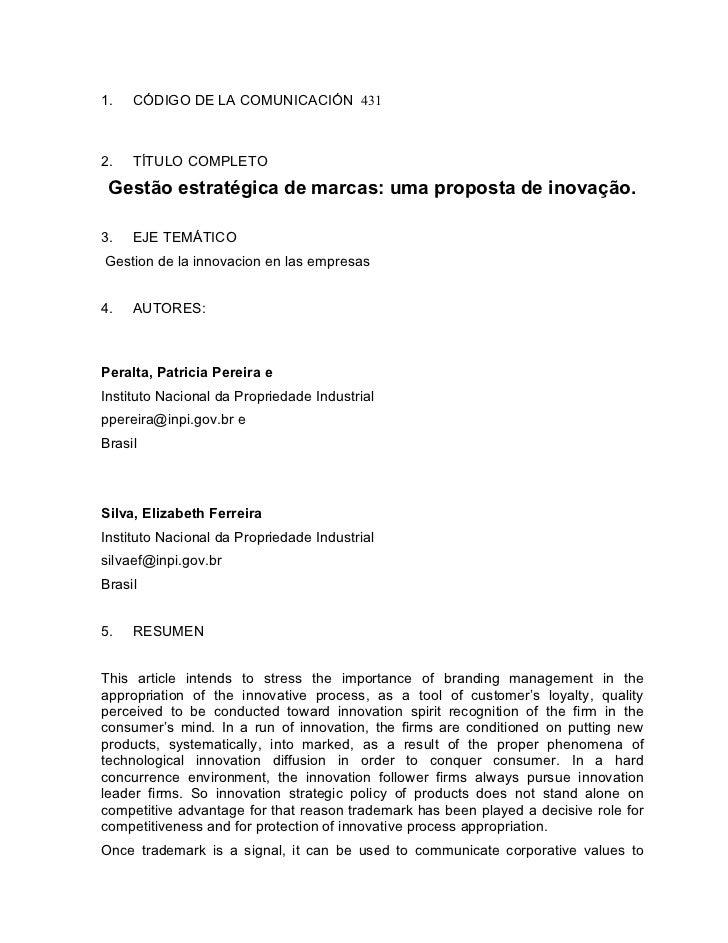 1.   CÓDIGO DE LA COMUNICACIÓN 4312.   TÍTULO COMPLETO Gestão estratégica de marcas: uma proposta de inovação.3.   EJE TEM...
