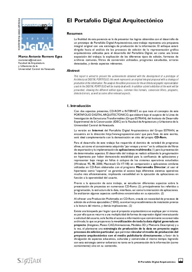 El Portafolio Digital Arquitectónico 1 El Portafolio Digital Arquitectónico Resumen La finalidad de esta ponencia es la de...