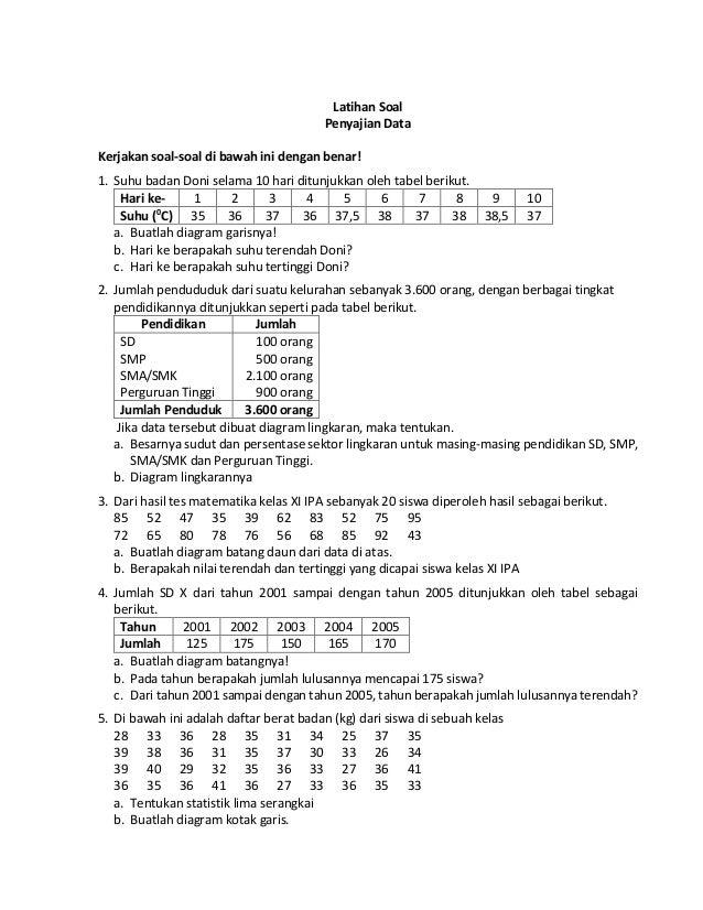 Teori statistik dasar 243220160914 p2c latihan soal latihan soal penyajian data kerjakan soal soal di bawah ini dengan benar 1 ccuart Choice Image
