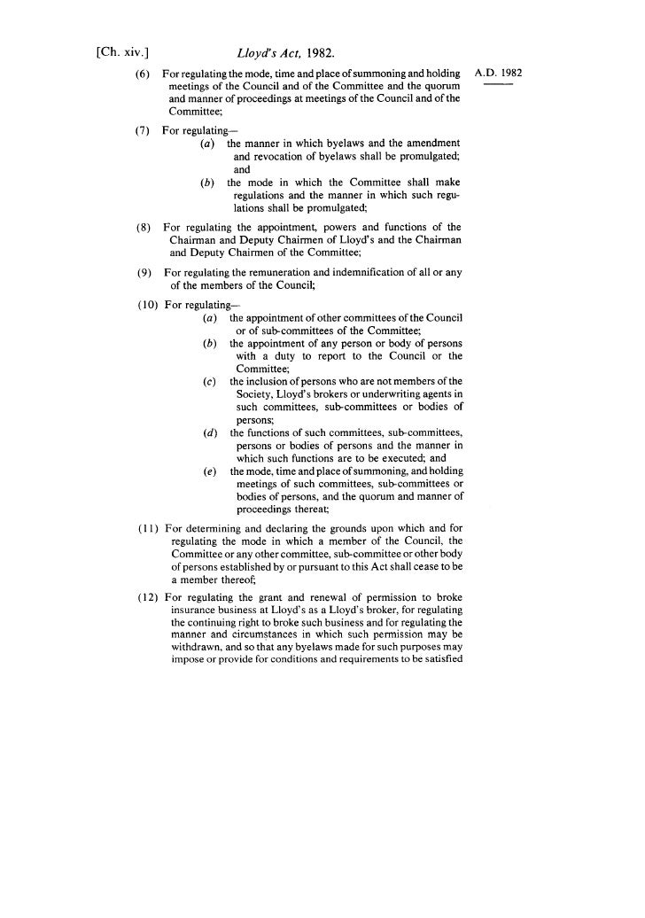 [Ch. xiv.]                     Lloyd's Act, 1982.        ( 6 ) For regulating the mode, time and place of summoning and ho...