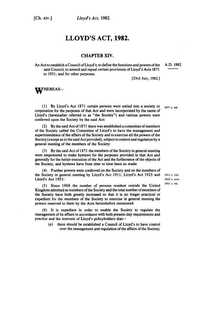 [Ch. xiv.J                 Lloyd's Act, 1982.                        LLOYD'S ACT, 1982.                                CHA...