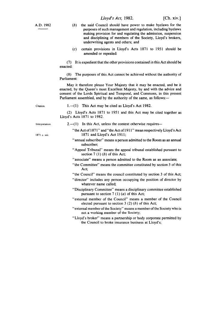 Lloyd's Act, 1982.                        [Ch.                                                                            ...