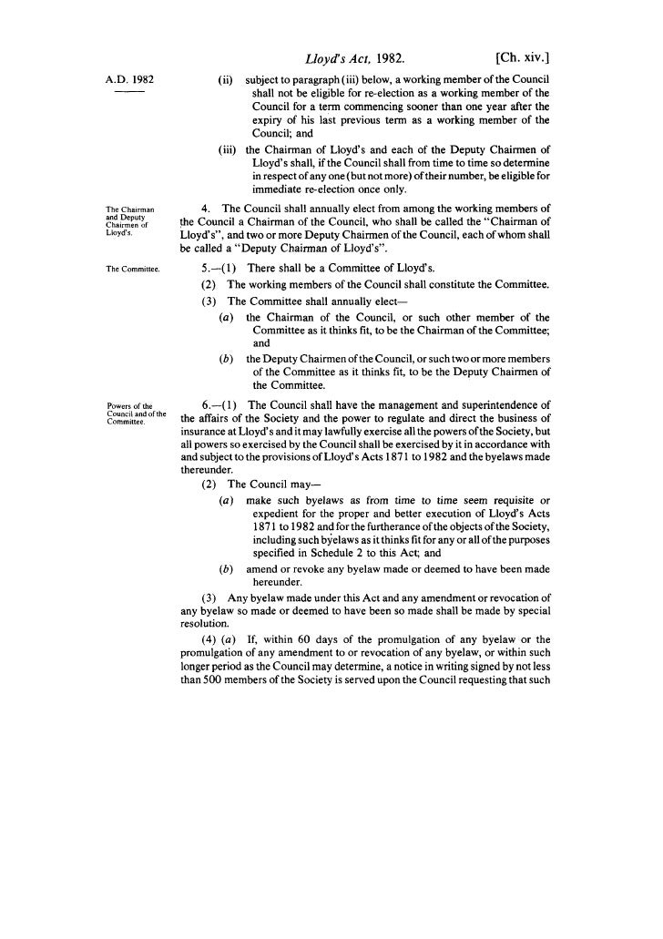 Lloyd's Act, 1982.                           [Ch. xiv.] A.D. 1982                    (ii)   subject to paragraph (iii) bel...