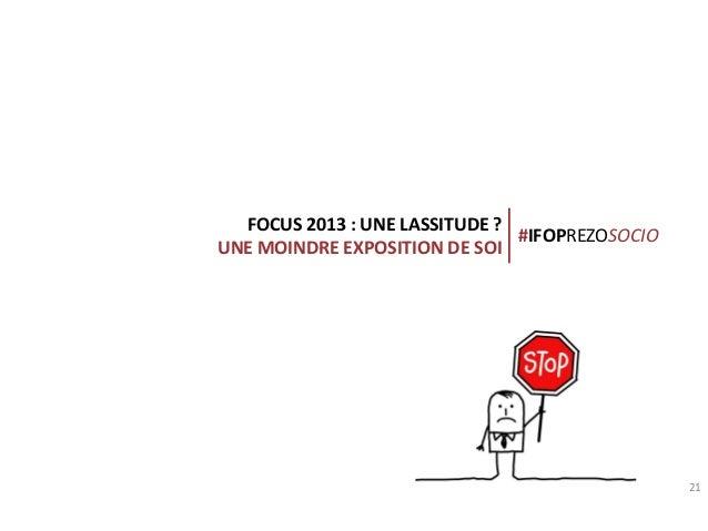 FOCUS 2013 : UNE LASSITUDE ? #IFOPREZOSOCIO UNE MOINDRE EXPOSITION DE SOI  Connection creates value  21