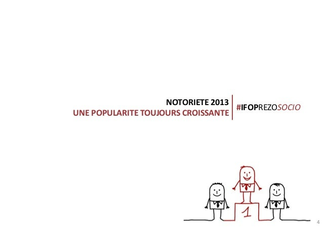 NOTORIETE 2013 #IFOPREZOSOCIO UNE POPULARITE TOUJOURS CROISSANTE  Connection creates value  4
