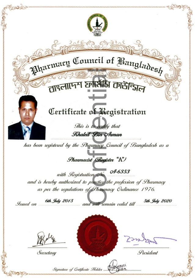 Pharmacy Council Registration Certificate