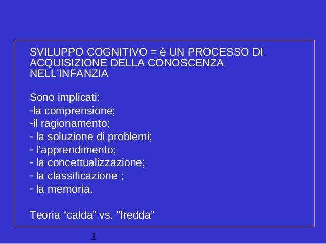 1 SVILUPPO COGNITIVO = è UN PROCESSO DI ACQUISIZIONE DELLA CONOSCENZA NELL'INFANZIA Sono implicati: -la comprensione; -il ...