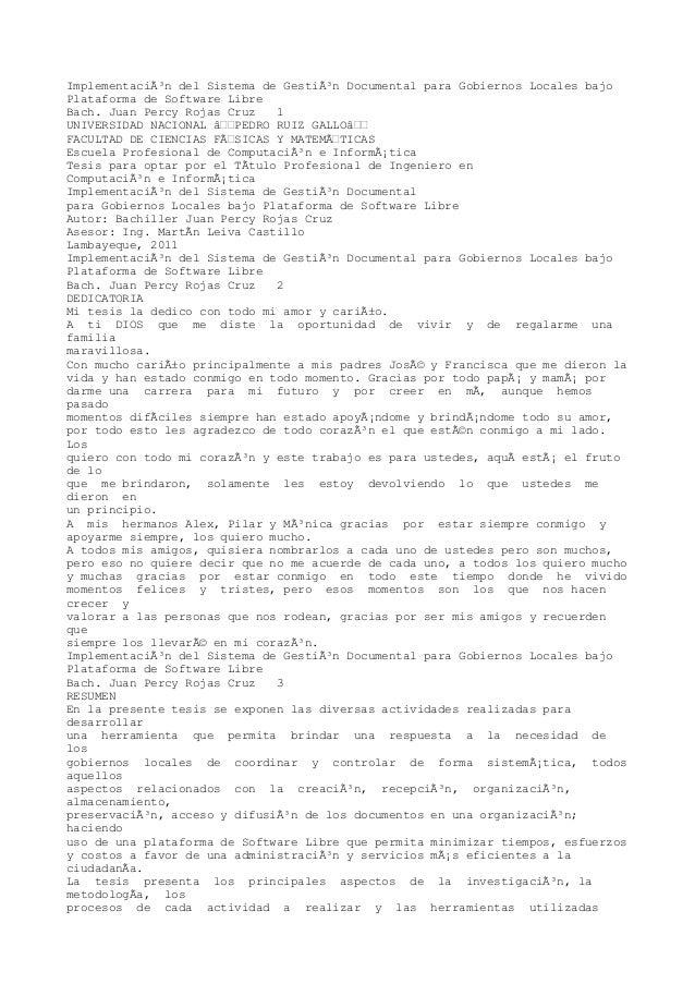 Implementación del Sistema de Gestión Documental para Gobiernos Locales bajo  Plataforma de Software Libre  Bach. Juan P...
