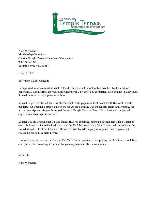 Reference Letter From Organization
